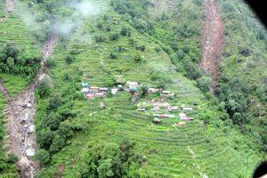 A human settlement in Cheprang, Ri-9 of Dhading district, that lies between multiple landslides as seen in July 2016. Photo: Keshav Adhikari